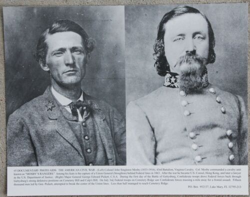 Vintage 11x14 Photograph Civil War John Singleton Mosby /& George Edward Pickett