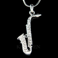 w Swarovski Crystal TENOR ALTO Sax SAXOPHONE Musical Instrument Necklace Jewelry