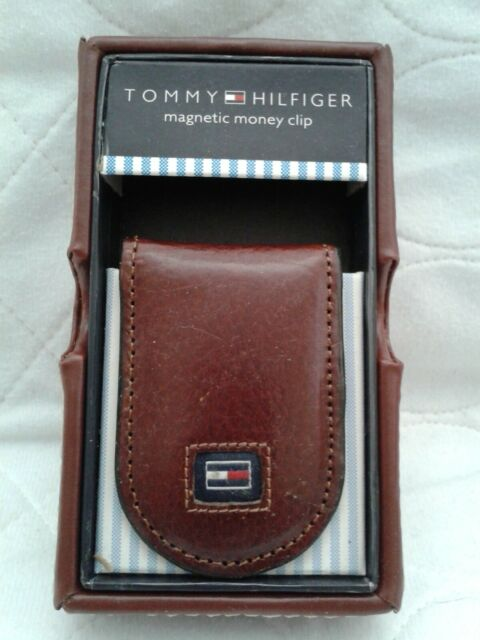 New Brown Magnetic Leather Wallet Case Card holder Money Clip