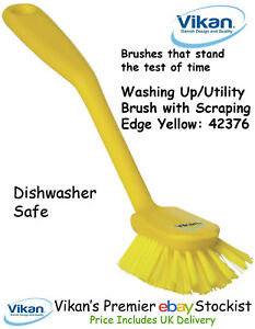 Vikan 4237n Washing Up Brush with Scraping Edge Utility Dishwasher Top Quality