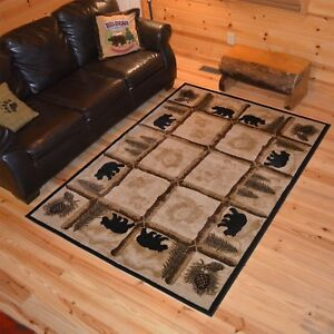 Lodge-Cabin-Rustic-Bear-Pine-Rustic-Wildlife-Area-Rug-FREE-SHIPPING