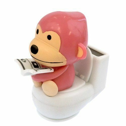 Solar Powered Monkey Reading in The Toilet Dancing Toys