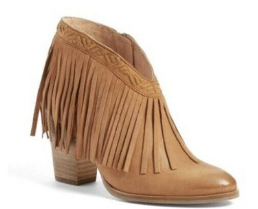Seychelles Womens World Tour Brown Leather Fringe Ankle Boots 8.5 NEW