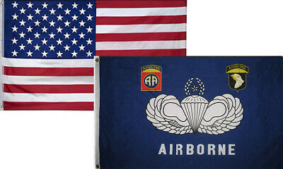 3x5 Wholesale Combo USA American /& 101st Airborne Screaming #1 Flag 3/'x5/' 2 Pack