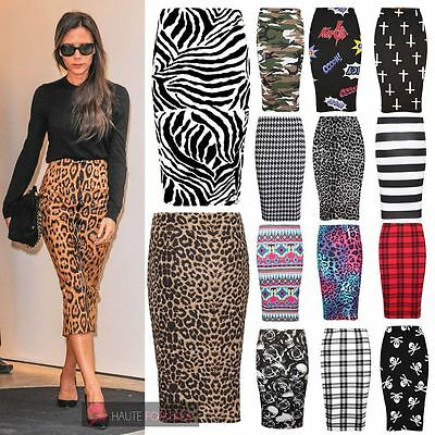 2132c98b7 Details about NEW WOMENS PRINTED HIGH WAIST BODYCON MIDI TUBE PENCIL SKIRT  PLUS SIZE