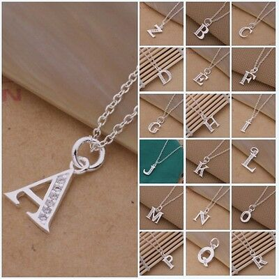 Xmas Gift Solid Silver Letter A to Z Pendant + Chain Locket Lady925 Necklace