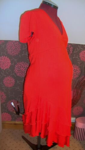 Details about  /BNWT Ladies MATERNITY Red Frill Detail Dress Size 10