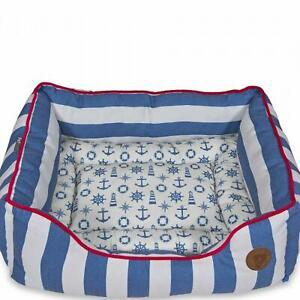 Petface Blue Nautical Soft Medium Dog Bed Deep Washable Reversible Liner Fleece