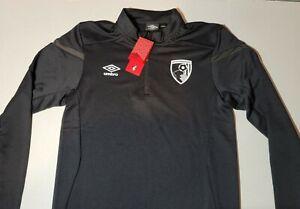 Umbro Men's AFC Bournemouth 19/20 Half Zip Soccer Jersey Shirt, Black Size M
