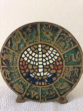 Vintage Israel Jewish Judaica Enamel Mosaic Brass Napkin Letter Holder