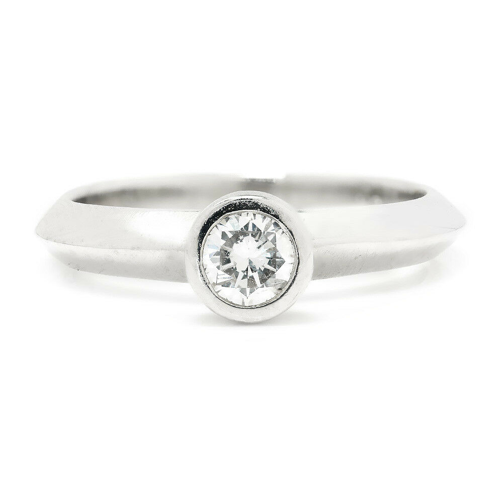 Round Diamond Bezel Set Solitaire Engagement Ring 18K White gold .25ct