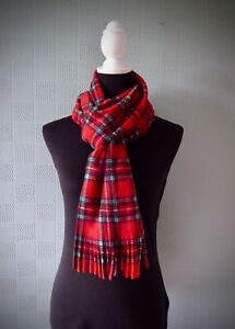 Red tartan snood plaid cowl Royal Stewart Tartan snood scarf fleece neckwarmer