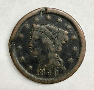 1848 Braided Hair Large Cent 1¢ Very Good+