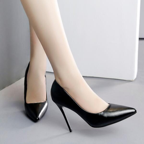 Éscarpins chaussures noir Femme argent Talons Aiguilles 10 cm Cuir Synthetique
