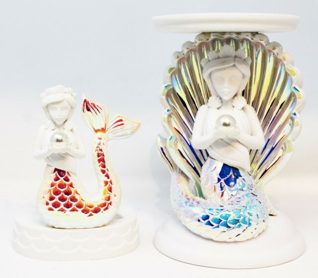 BATH AND BODY WORKS IRIDESCENT MERMAID PEDESTAL 3-WICK CANDLE HOLDER NWTS