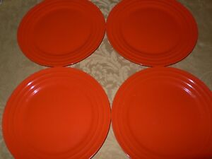 Image is loading Rachael-Ray-Double-Ridge-Set-pf-4-Orange- & Rachael Ray Double Ridge Set pf 4 Orange Dinner Plates 11\