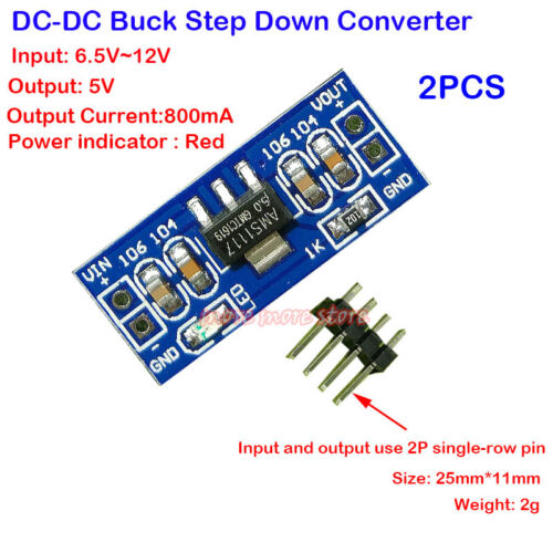 2PCS Micro 25*11mm 5V Buck Regulator DC-DC 6-12V to 5V Step Down Power Converter