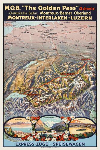 Vintage Swiss Map Montreux Interlaken Lucerne 1920s Golden Pass Europe Skiing