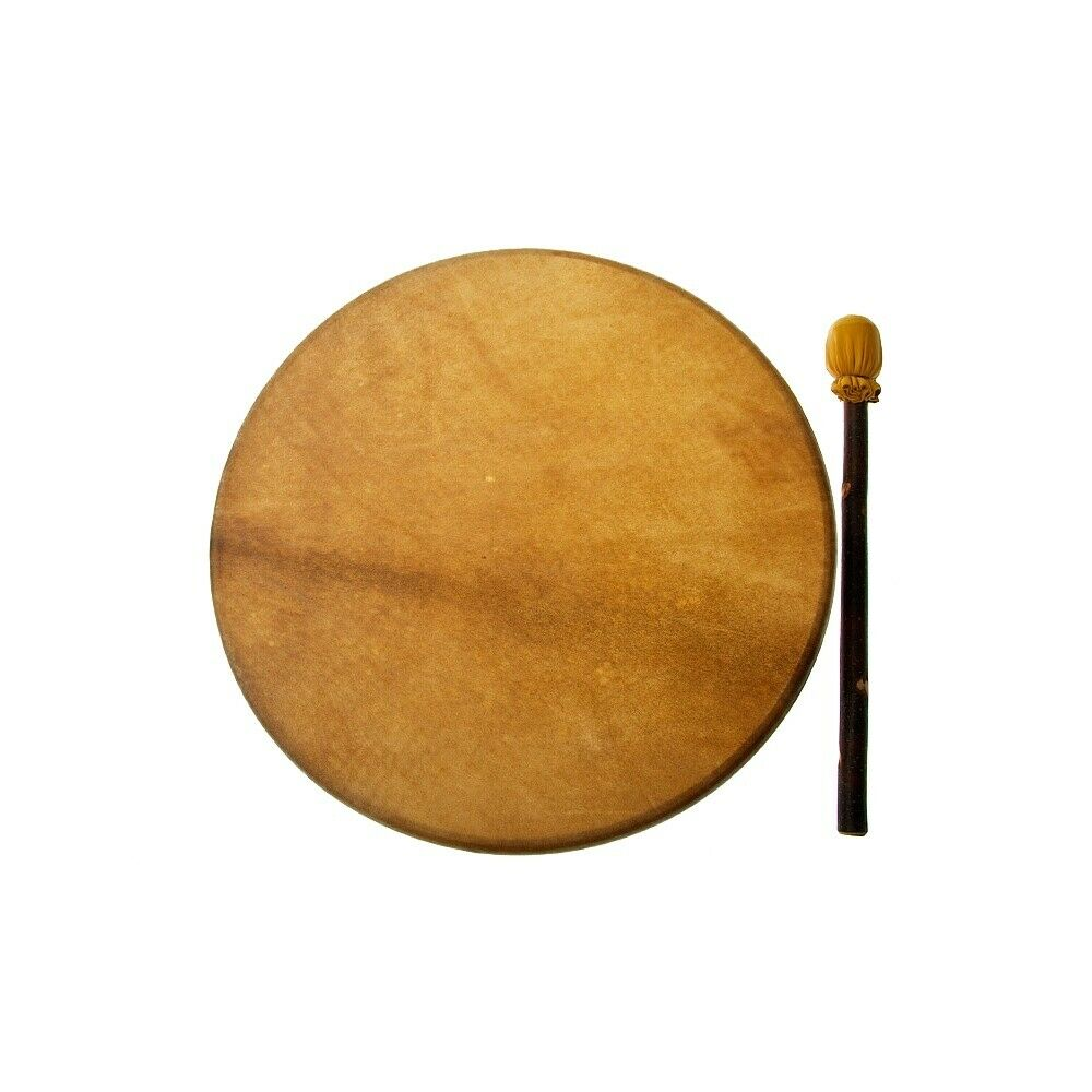 North West Native Indian Lakota 18  Natural Buffalo Skin Drum (With STD Beater)