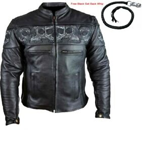 MEN-039-S-MOTORCYCLE-GENUINE-LEATHER-JACKET-REFLECTIVE-SKULLS-2-DEEP-GUN-POCKETS
