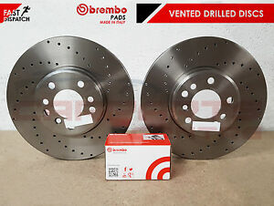 FOR-GOLF-R-MK7-FRONT-OE-PERFORMANCE-DRILLED-BRAKE-DISCS-BREMBO-PADS-340mm