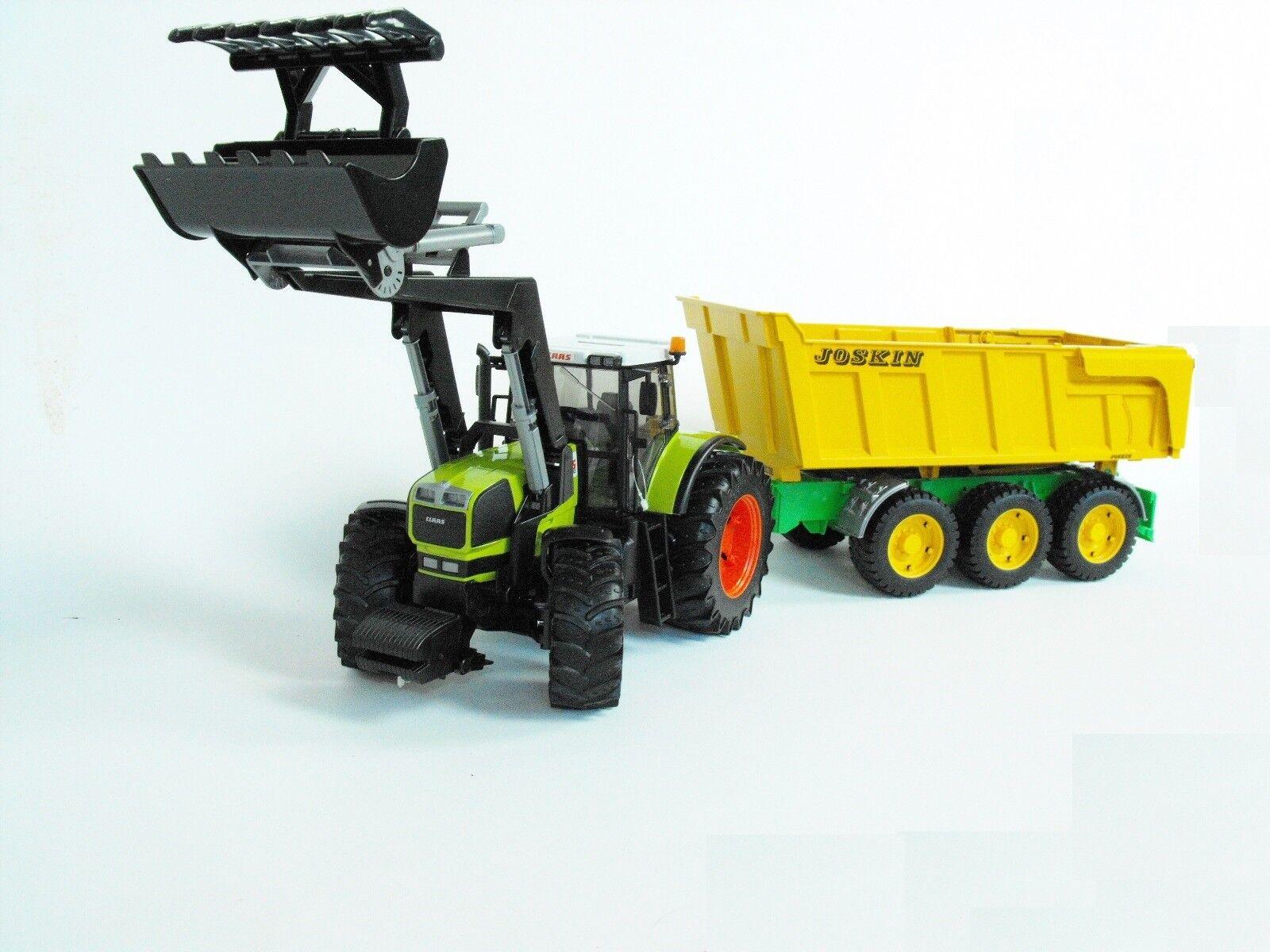 Bruder 03011 Claas 936 RZ Traktor mit Frontlader + Joskin Kipper Anhänger 02212