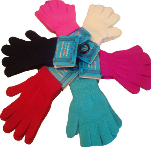 Kids Children/'s Assorted Colours Winter  Acrylic Thermal Magic Gloves,6,12 pairs