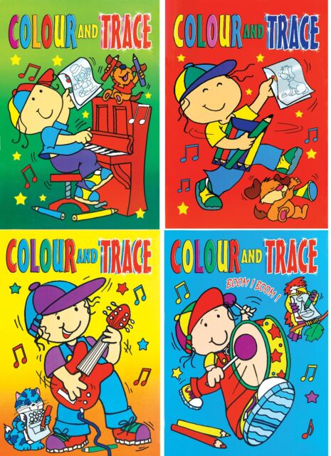 Set 4 x A4 Colour & Trace Books Tracing Paper Childrens Art Activity books 630
