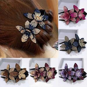 Fashion-Women-Rhinestone-Double-Flower-Hair-Clip-Hairpin-Duckbill-Beads-Hairgrip