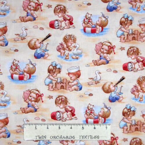 Beach Kids Babies on Cream Elizabeth/'s Studio YARD Nautical Fabric