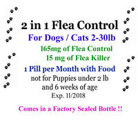 2in1 Flea Killer & Control In One Pill 12 Mon. Dogs/cats 2-30 Lb Factory Sealed