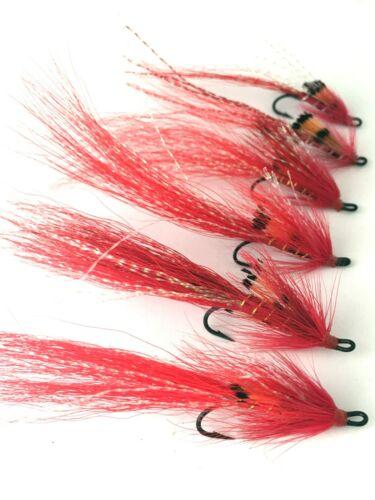 Fly fishing salmon flies rouge ALLYS Shrimp Taille 6-10 Double Pack de 6 #152