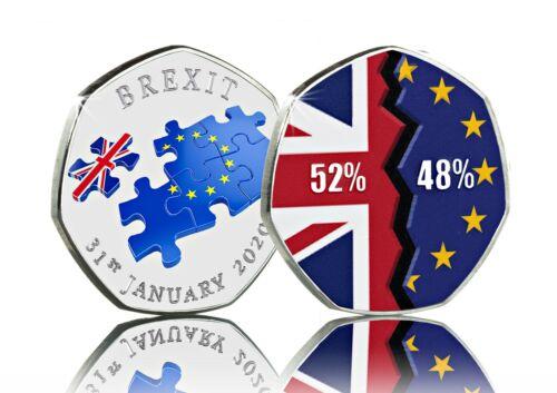 Brand New BREXIT Full Colour Silver Commemorative UK EU Politics January 2020