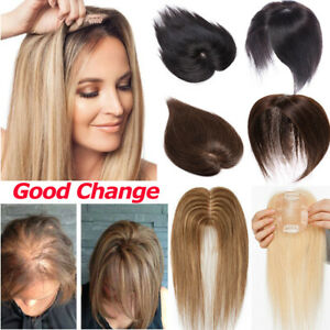 Human-Hair-Topper-Hairpiece-Top-Cover-Thin-Clip-In-Silk-Momo-More-Density-Wig-US
