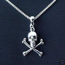"1 x Tibetan Silver 18"" Skull & Cross Bones Pendant Charm Necklace"
