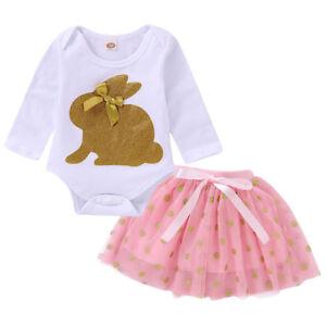 0e5d0cdf5 2pcs Newborn Baby Girls Outfits Clothes Set Rabbit Romper Tops +Tutu ...