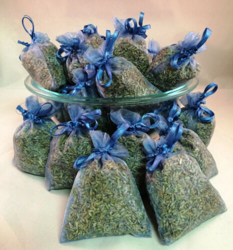 Set of 30 Lavender Sachets made with Smoke Blue Organza Bags