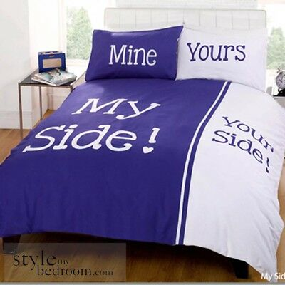 """My Side Your Side"" Retro Chic Duvet Quilt Cover Bedding Set & Pillowcases"