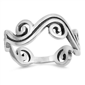 .925 Sterling Silver Lucky Clear CZ Fashion Snake Ring Size 6 7 8 9 10 11 NEW