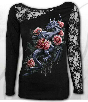 Spiral Direct NEW DRAGON ROSE SLANT Long Sleeved Lace Shoulder,Wild//Goth//Top//Tee