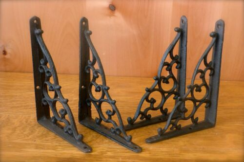 "BR27px2 Pair Pewter 10/"" x 7/"" ANTIQUE HEAVY CAST IRON VICTORIAN SHELF BRACKETS"