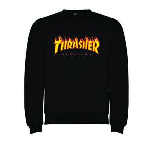 SUDADERA-CLASICA-thrasher-llamas-letras-NEGRA-HOMBRE-TALLAS-S-M-L-XL-XXL