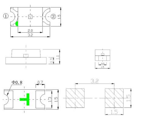 KM0039 250 Stück SMD LED 1206 warmweiss diffus