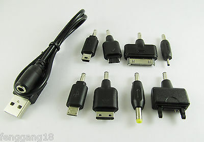1 Set Black USB Charge Cable with 8 DC Adapters for Cell Phones PSP MP3 Kit