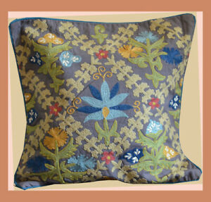 Cotton-Embroidery-Hand-Made-Gray-Turquoise-Pillow-Cover-from-Craft-Options