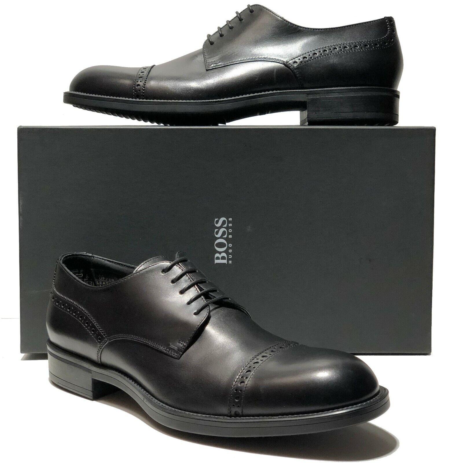 Nuevo HUGO BOSS Italia Negro Cuero captoe Hombre Oxford vestido formal Derby Informal