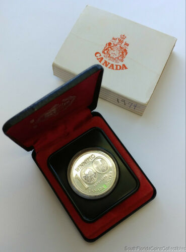 1974 Canada Uncirculated Silver Dollar Coin .500 Silver In Box