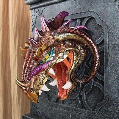 Menacing Monstrous Wall Mounted Iridescent Dragon Head Sculpture Trophy Ebay