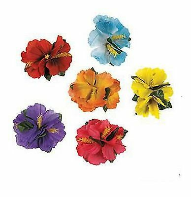 1 x HIBISCUS FLOWER HAIR CLIP Luau Party Favours Polyester Hairclips Pins Clips