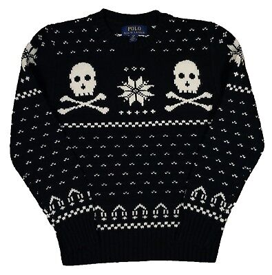 Polo Ralph Lauren Boys Black Jacquard Knit Skull Wool Blend Crew-Neck Sweater